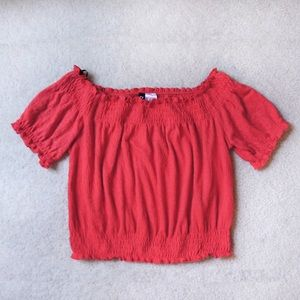 H&M Red Off The Shoulder Puff Sleeve Crop Top